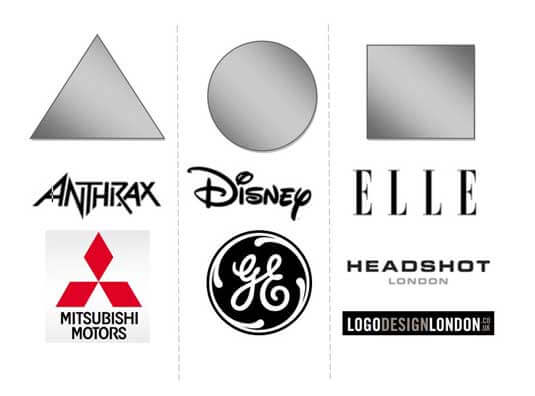 Three examples of simple logo shapes
